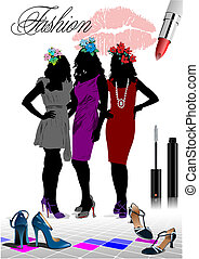 Floral women silhouette with fashion images. Vector illustration