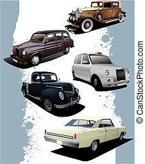 Five old  cars. Retro. Vector illustration