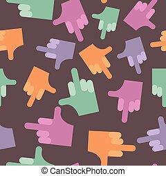 fuck, seamless, pattern., fond, hands., vecteur,...