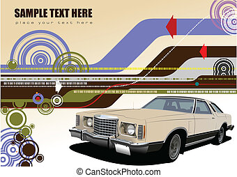 Brown business background with old car image. Vector illustration