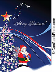 Christmas - New Year background with Santa image. Vector