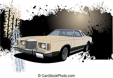 Grunge Banner with rarity car image. Vector illustration