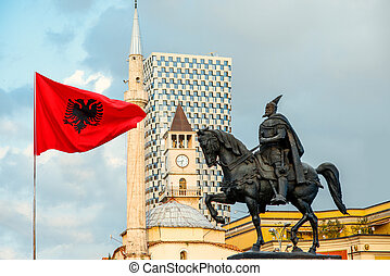Monument of Skanderbeg in Tirana - Skanderbeg monument with...