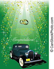 Wedding green background with rarity car image. Vector illustration