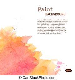 Orange watercolor paint background vertical diag left -...