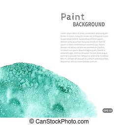 Turquoise green watercolor paint background diag left -...