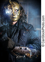 Steampunk man wearing mask with various mechanical devices....