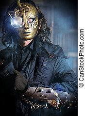 Llevando, fantasía, steampunk, máscara, vario, mecánico,...