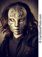 Portrait of a mysterious man in iron mask. Steampunk....