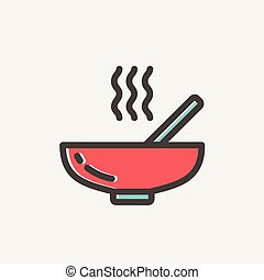 Hot meal in bowl thin line icon - Hot meal in bowl icon thin...