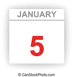 January 5 Day on the calendar 3d