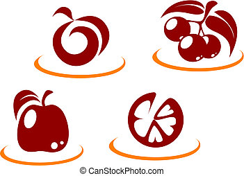 Fruit symbols - Fresh fruit symbols for design or concept