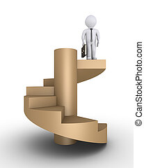 Businessman on top of stairs