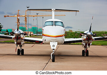 small plane - small aircraft on the airfield, airport in...