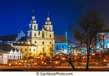 Night Scene Building Of The Cathedral Of Holy Spirit In Minsk -