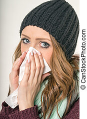 sick woman with a handkerchief