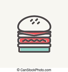 Double burger thin line icon - Double burger icon thin line...