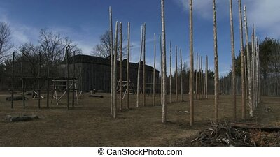 Reconstructed Iroquoian village - Reconstructed 15th century...