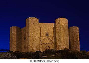 monte, Castel, Budowany, II, Sławny, Del, Apulia, zamek,...