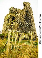 Irish landscape. Ruins of castle, County Cork, Ireland Europe