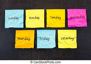 Days of Week Sticky Notes - Crumpled days of week sticky...