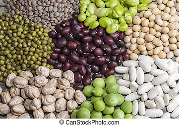 vegetables - Several raw vegetables: beans, chickpeas,...