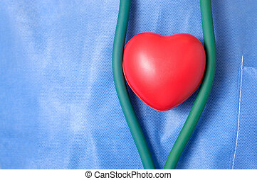 Doctor with red heart shape - Surgeon with a red heart shape...