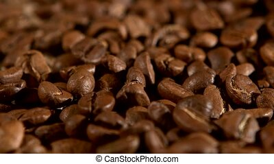 Brown, roasted coffee beans, close up, rotation, background