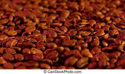 Coffee beans background with purple light, rotation, close...