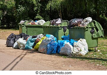 Garbage Containers Full, Overflowing - Dumpsters being full...