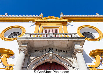 Bullring area in Seville - Detail of Plaza de Toros area in...