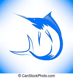 Marlin Fish Icon Isolated on Blue Background. Symbol Fish.