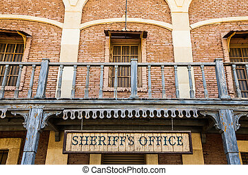 Sheriff Office - Old Sheriff Office cartel, made of wood,...