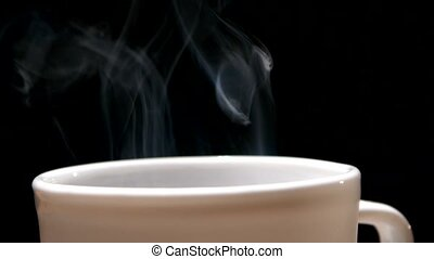 Perfect white coffee cup isolated on black background -...