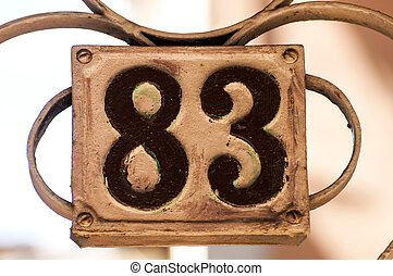Old retro cast iron plate number 83 - Old retro weathered...