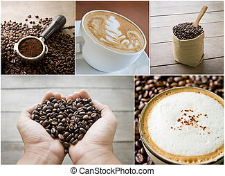 coffee beans - collage of coffee beans, seed, grain, scoop,...