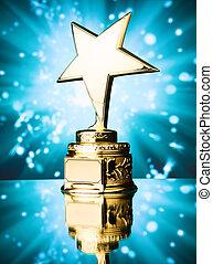 Ouro, estrela, troféu, contra, azul, faíscas,...