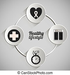 Healty Lifestyle design - Healthy lifestyle design over grey...