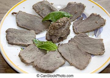roast beef of chianina - sliced roast beef of chianina with...
