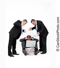 Mobbing - Businessman shout at man seating on the floor with...