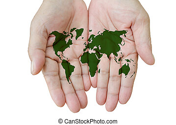 Map of the world in your hands isolated on white.
