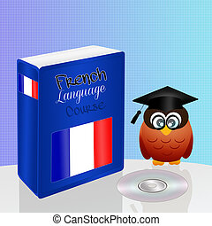 french language course - illustration of french language...