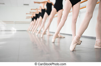 young dancers ballerinas in class classical dance, ballet -...