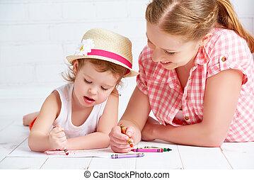 嬰孩, 畫, 女儿, 一起, 母親
