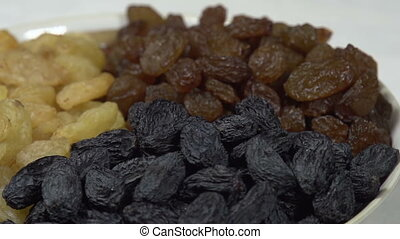 Three Kinds of Raisins in a Bowl - Front of the camera...