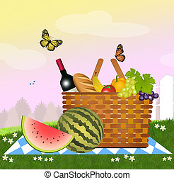 picnic - illustration of picnic