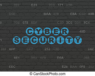Protection concept: Cyber Security on wall background -...