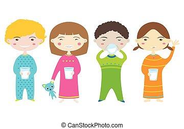 Happy Children Drinking Milk.