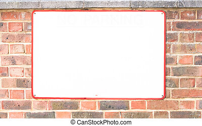 Blank sign on very old brick wall - Empty metallic sign...