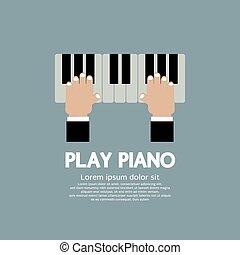 Hand Playing Piano.